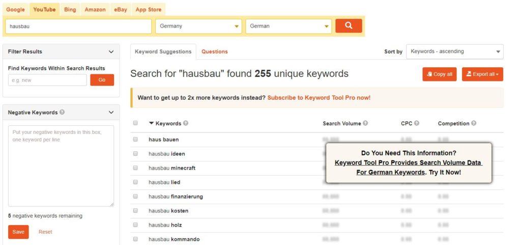 Recherche mit Keywordtool.io