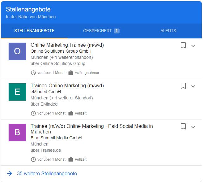 google for Jobs Beispiel