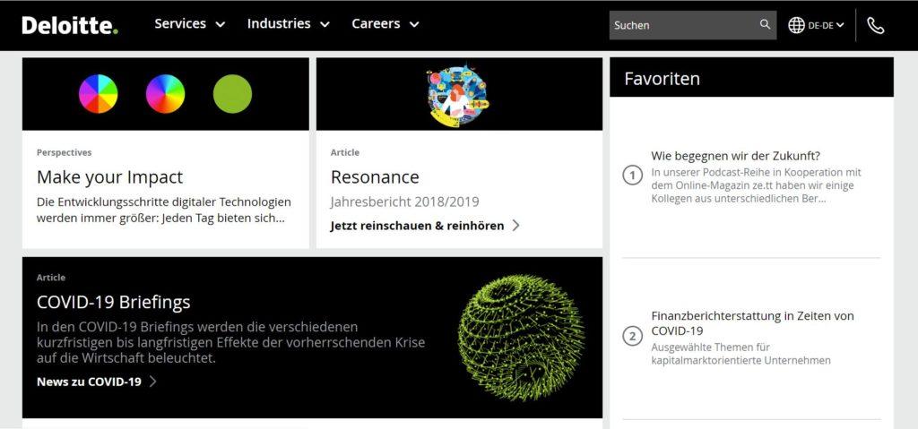Startseite von Deloitte Deutschland